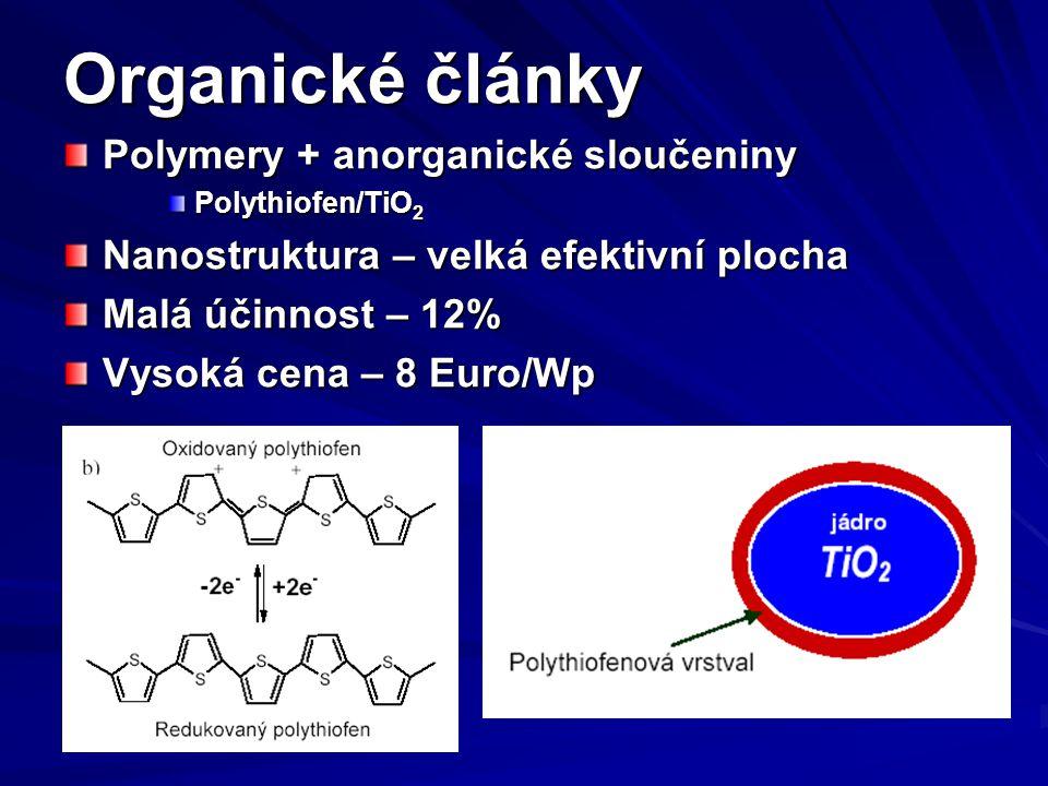 Organické články Polymery + anorganické sloučeniny