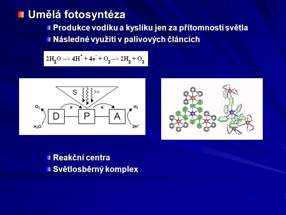 Umělá fotosyntéza Produkce vodíku a kyslíku jen za přítomnosti světla