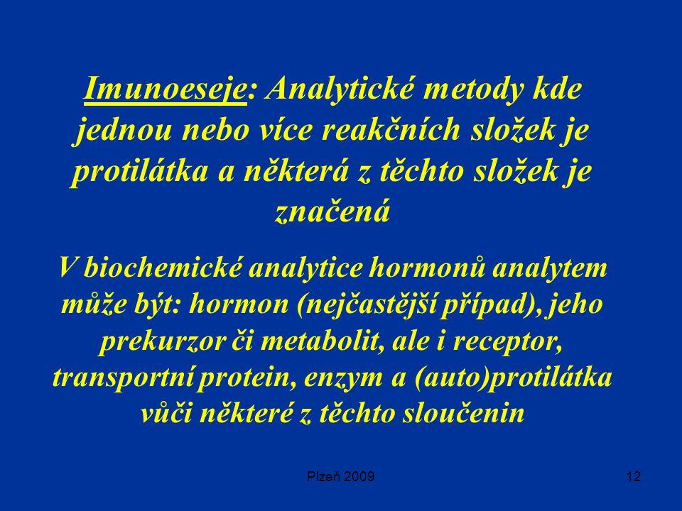 Imunoeseje: Analytické metody kde jednou nebo více reakčních složek je protilátka a některá z těchto složek je značená