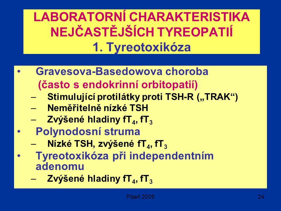 LABORATORNÍ CHARAKTERISTIKA NEJČASTĚJŠÍCH TYREOPATIÍ 1. Tyreotoxikóza