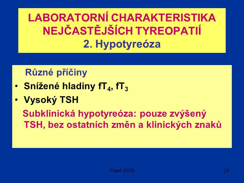 LABORATORNÍ CHARAKTERISTIKA NEJČASTĚJŠÍCH TYREOPATIÍ 2. Hypotyreóza