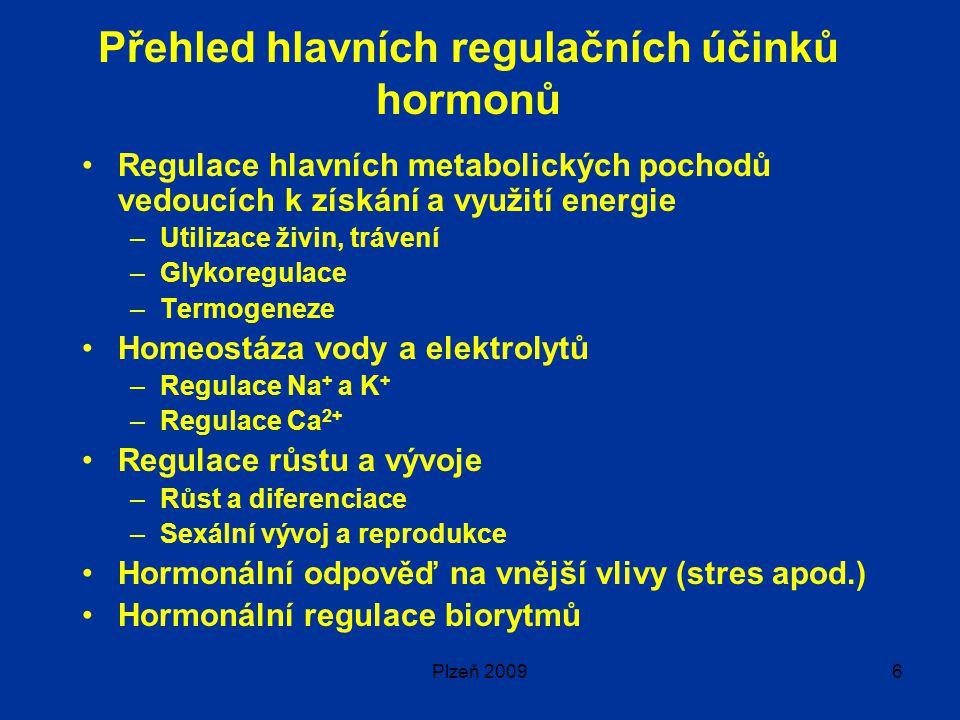 Přehled hlavních regulačních účinků hormonů