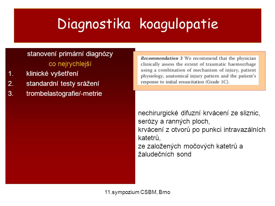 Diagnostika koagulopatie