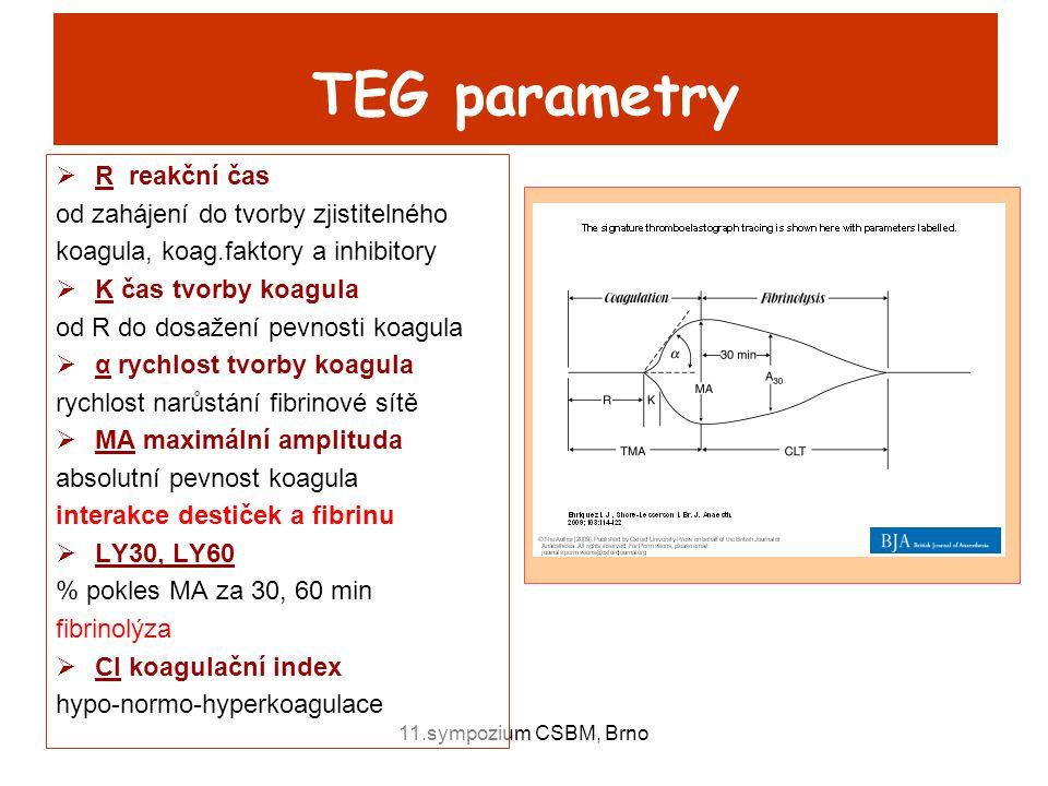 TEG parametry R reakční čas od zahájení do tvorby zjistitelného