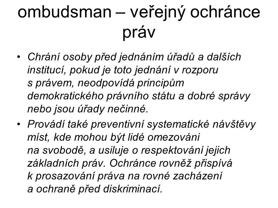 ombudsman – veřejný ochránce práv