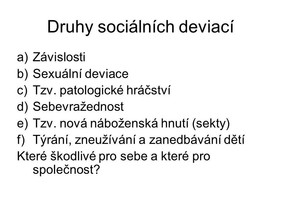 Druhy sociálních deviací