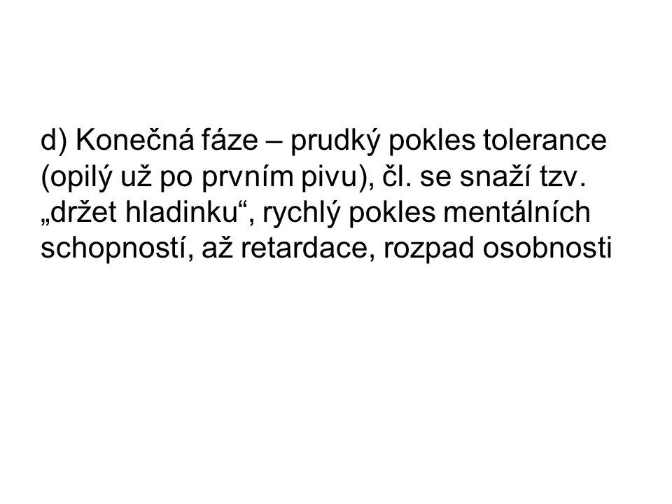 d) Konečná fáze – prudký pokles tolerance (opilý už po prvním pivu), čl.