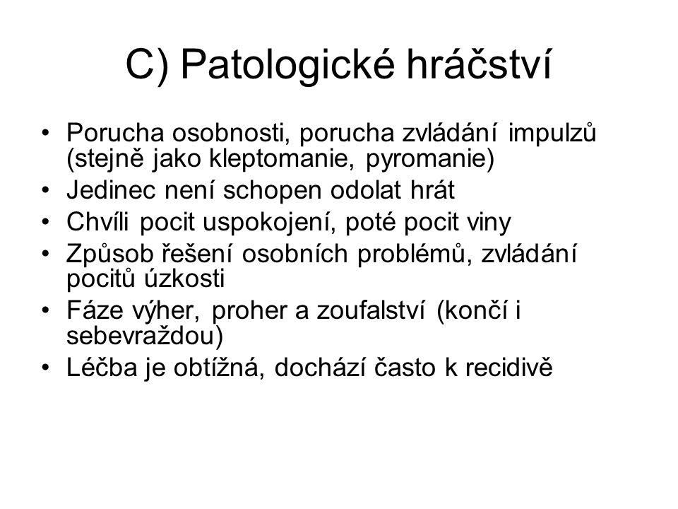 C) Patologické hráčství