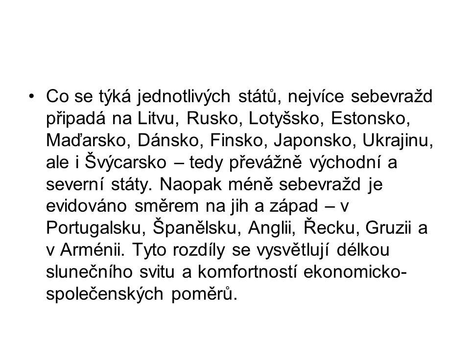 Co se týká jednotlivých států, nejvíce sebevražd připadá na Litvu, Rusko, Lotyšsko, Estonsko, Maďarsko, Dánsko, Finsko, Japonsko, Ukrajinu, ale i Švýcarsko – tedy převážně východní a severní státy.