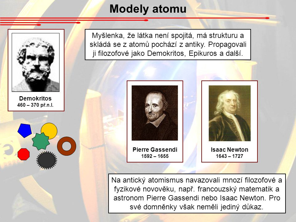 Modely atomu Demokritos. 460 – 370 př.n.l.