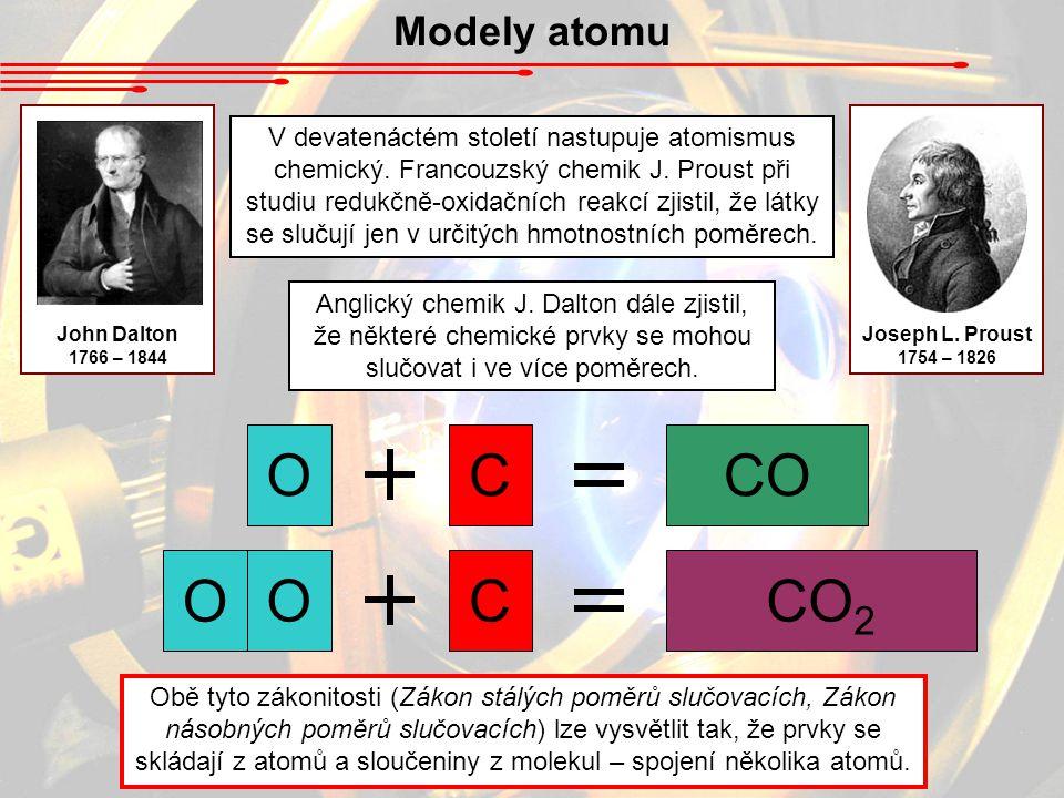 Modely atomu John Dalton. 1766 – 1844. Joseph L. Proust. 1754 – 1826.