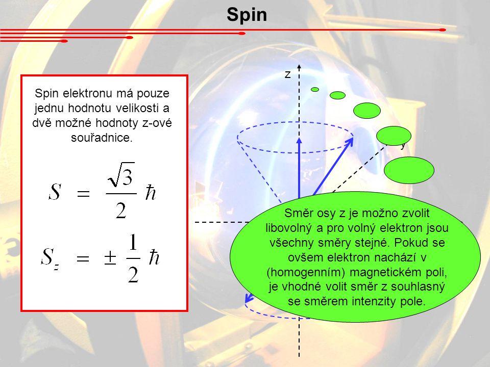 Spin z. Spin elektronu má pouze jednu hodnotu velikosti a dvě možné hodnoty z-ové souřadnice.