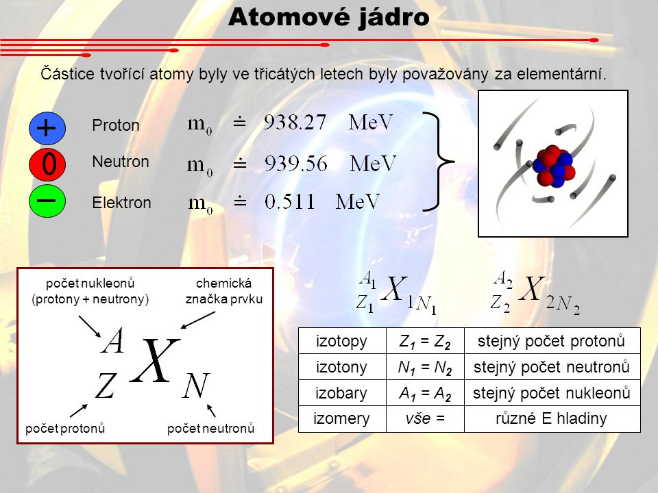 počet nukleonů (protony + neutrony)