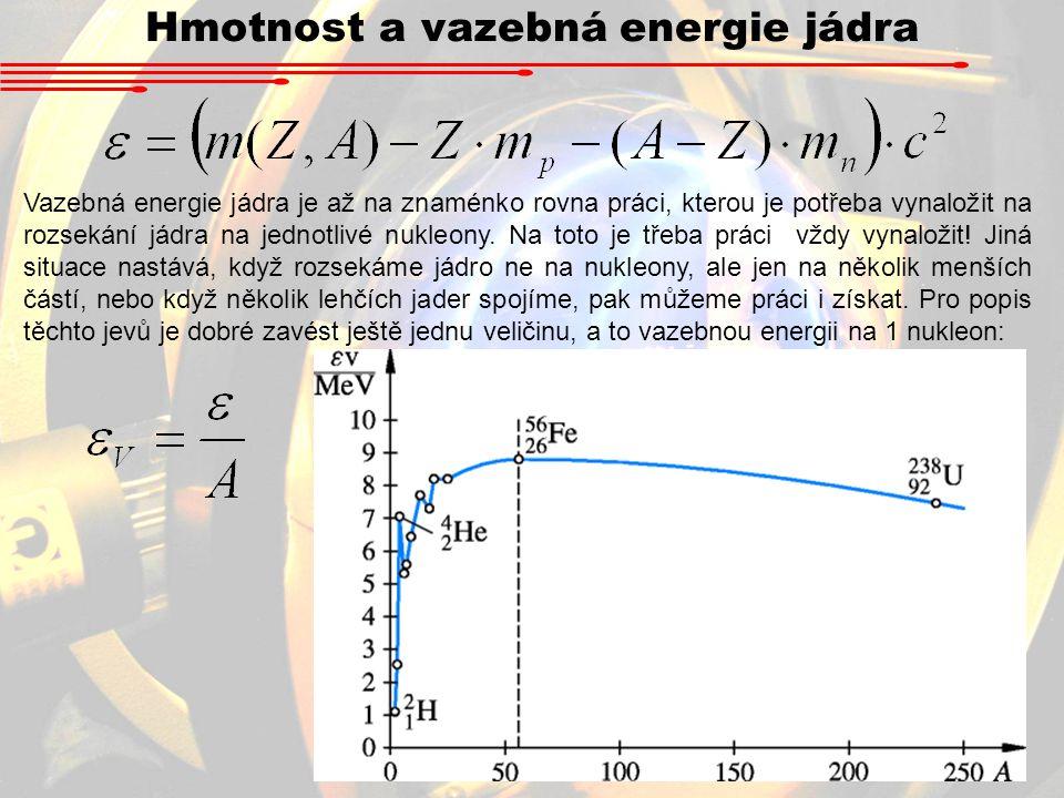 Hmotnost a vazebná energie jádra