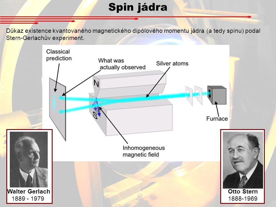 Spin jádra Důkaz existence kvantovaného magnetického dipólového momentu jádra (a tedy spinu) podal Stern-Gerlachův experiment.