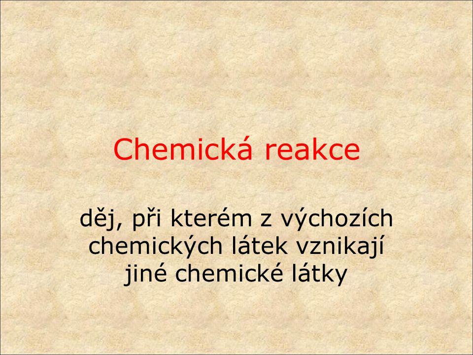 Chemická reakce děj, při kterém z výchozích chemických látek vznikají jiné chemické látky