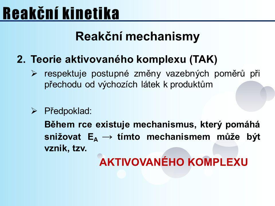Reakční kinetika Reakční mechanismy Teorie aktivovaného komplexu (TAK)