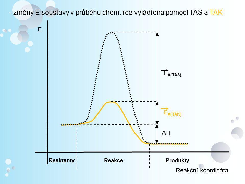- změny E soustavy v průběhu chem. rce vyjádřena pomocí TAS a TAK