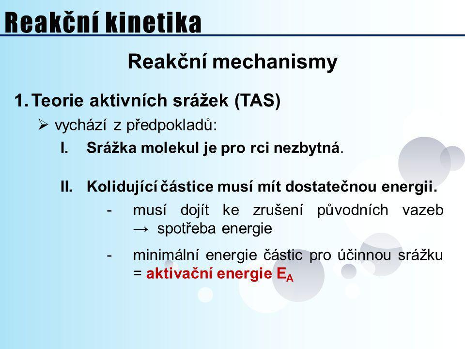 Reakční kinetika Reakční mechanismy Teorie aktivních srážek (TAS)