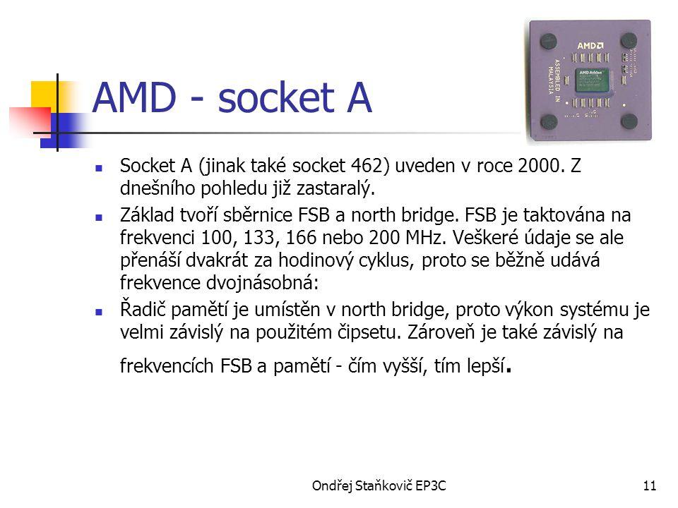 AMD - socket A Socket A (jinak také socket 462) uveden v roce 2000. Z dnešního pohledu již zastaralý.