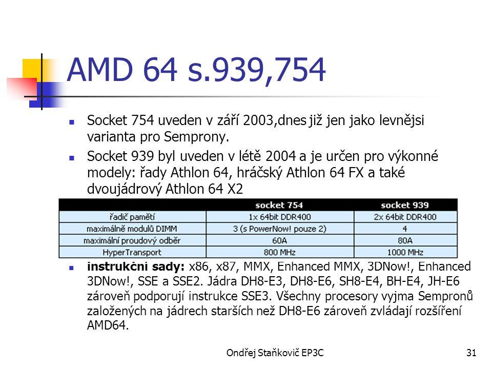 AMD 64 s.939,754 Socket 754 uveden v září 2003,dnes již jen jako levnějsi varianta pro Semprony.
