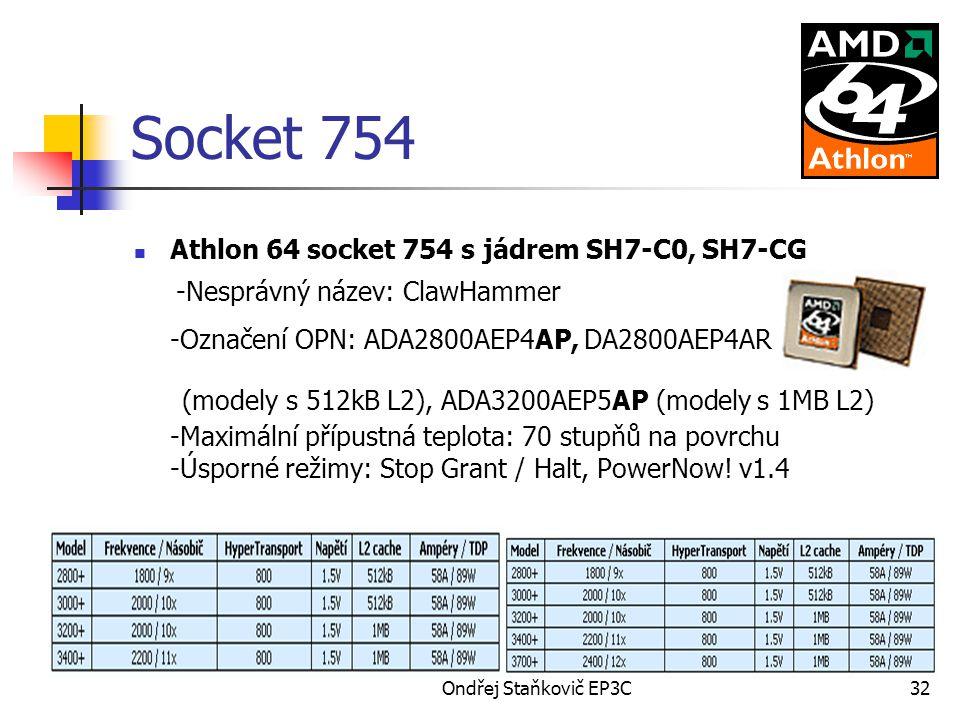Socket 754 Athlon 64 socket 754 s jádrem SH7-C0, SH7-CG. -Nesprávný název: ClawHammer -Označení OPN: ADA2800AEP4AP, DA2800AEP4AR.