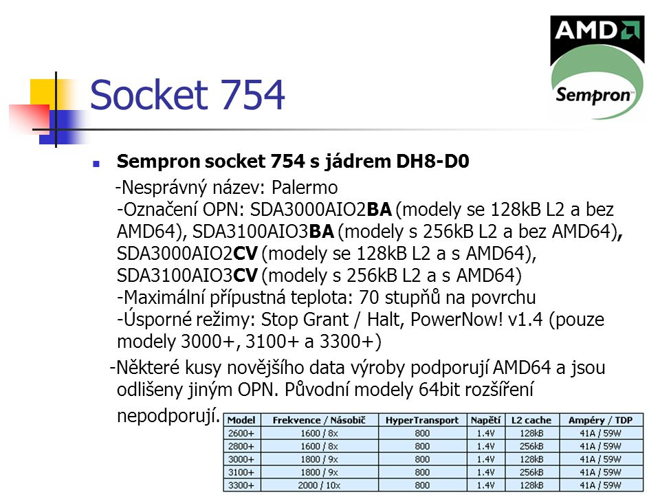 Socket 754 Sempron socket 754 s jádrem DH8-D0