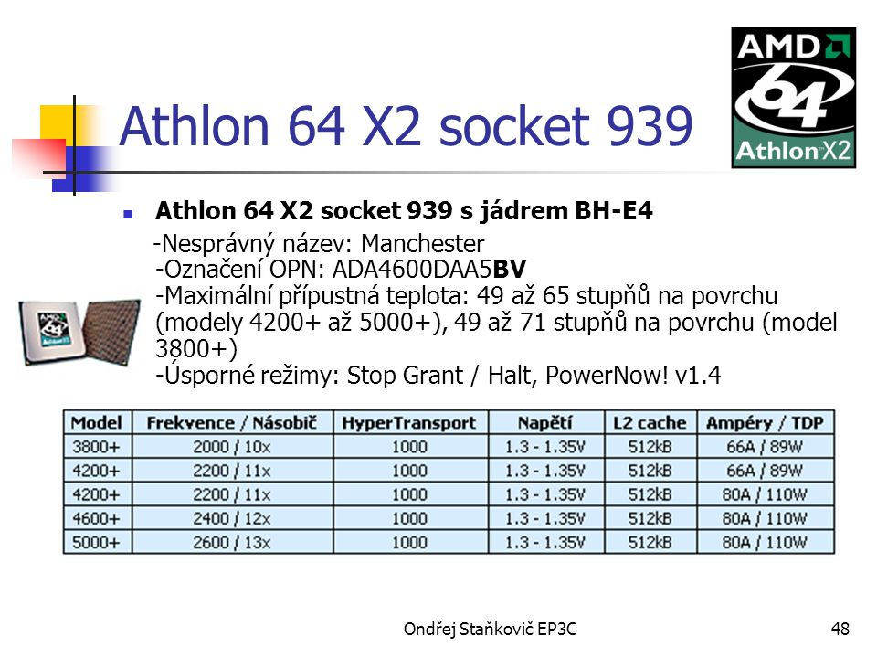 Athlon 64 X2 socket 939 Athlon 64 X2 socket 939 s jádrem BH-E4