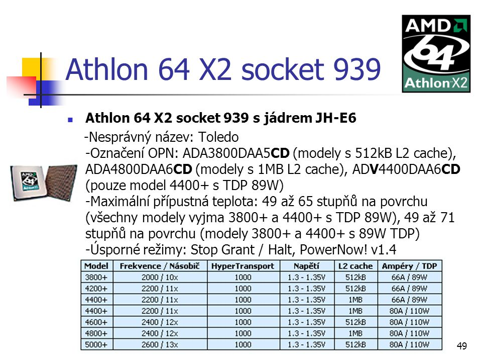 Athlon 64 X2 socket 939 Athlon 64 X2 socket 939 s jádrem JH-E6