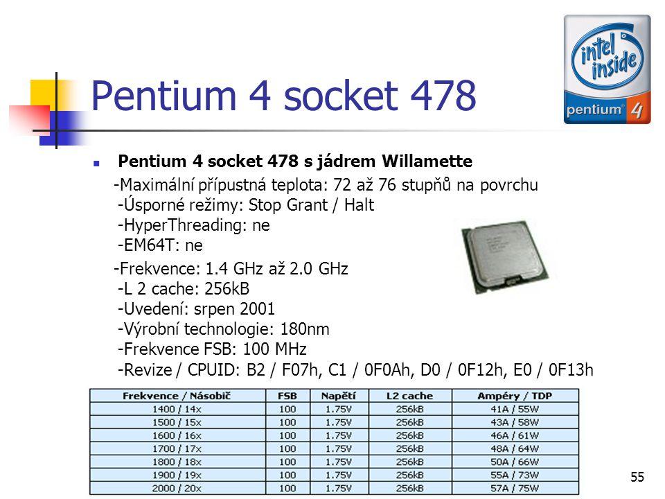 Pentium 4 socket 478 Pentium 4 socket 478 s jádrem Willamette