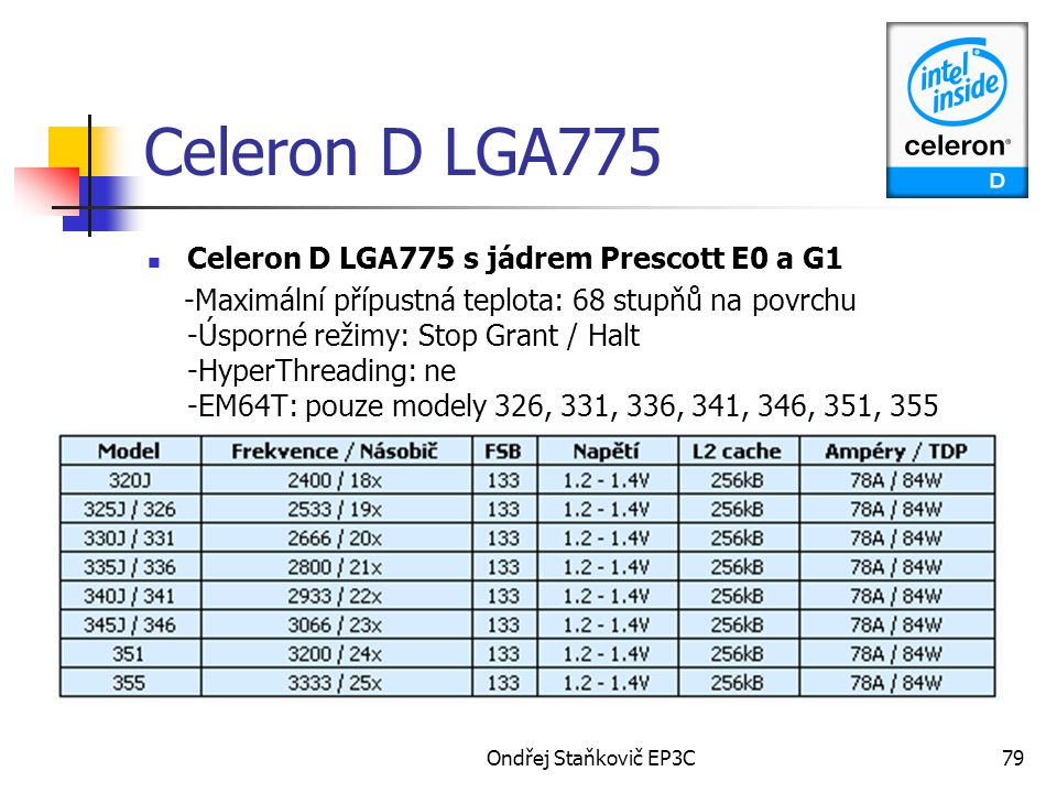 Celeron D LGA775 Celeron D LGA775 s jádrem Prescott E0 a G1