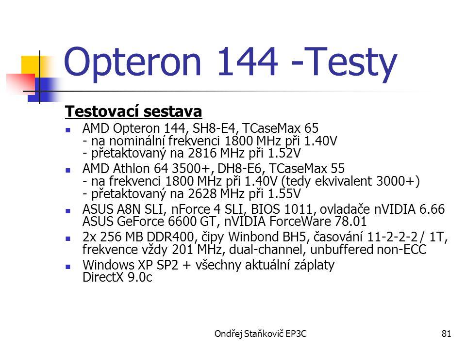Opteron 144 -Testy Testovací sestava