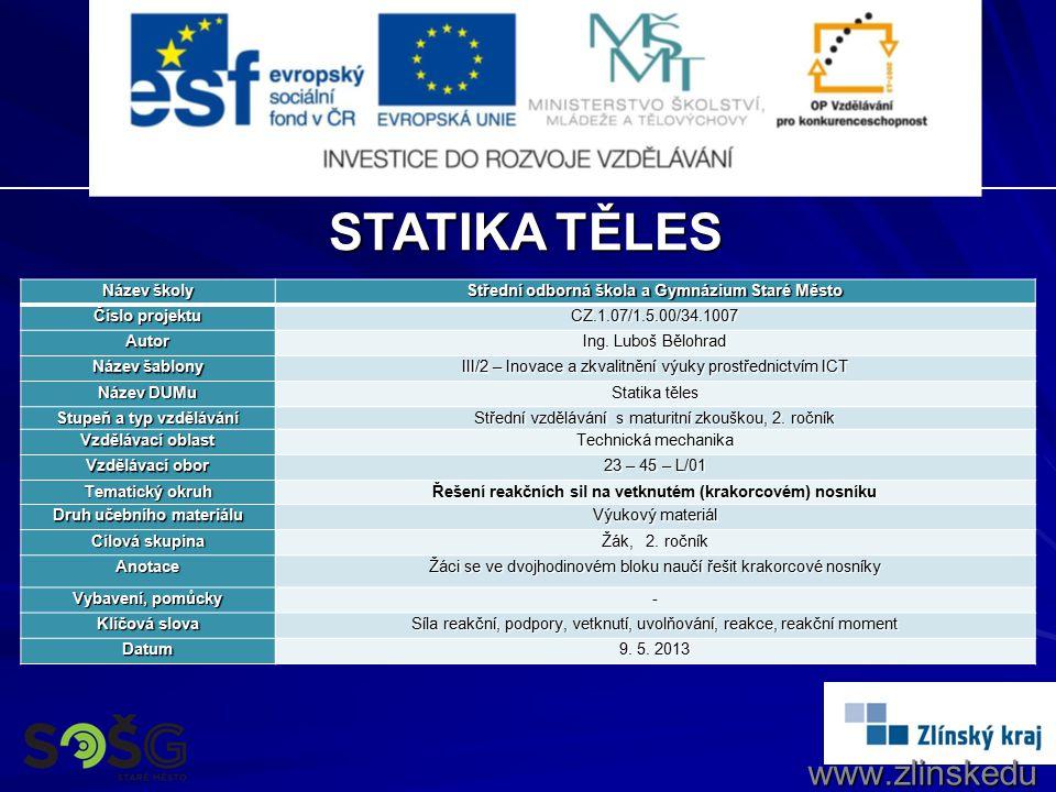 STATIKA TĚLES www.zlinskedumy.cz Název školy