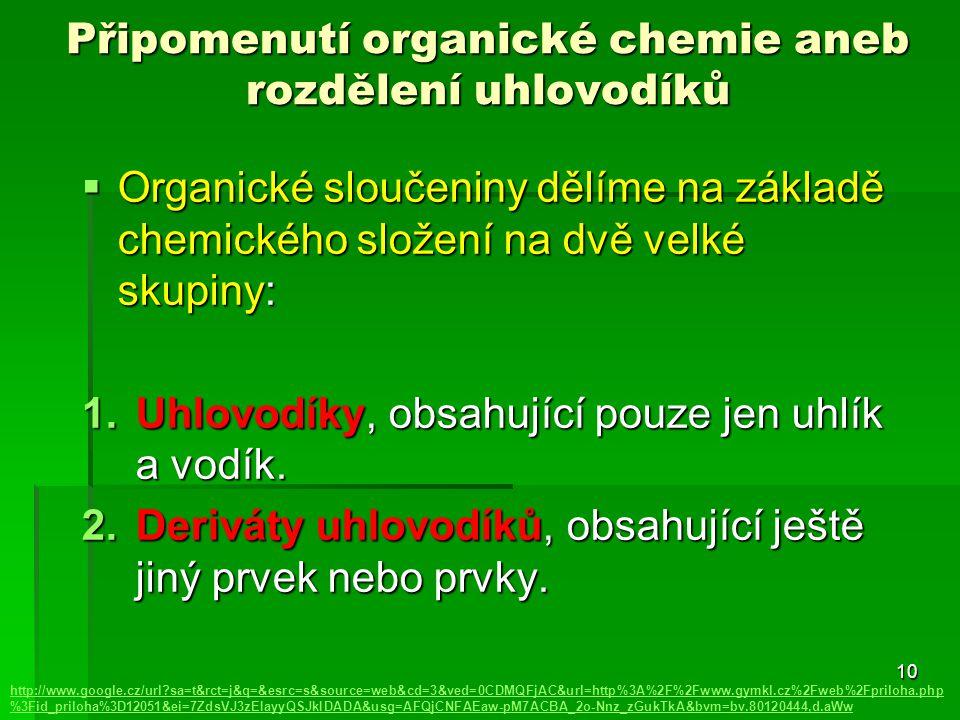Připomenutí organické chemie aneb rozdělení uhlovodíků