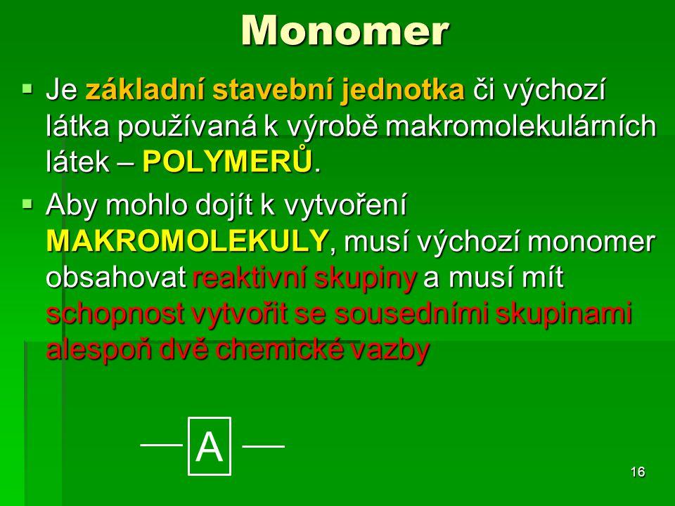 Monomer Je základní stavební jednotka či výchozí látka používaná k výrobě makromolekulárních látek – POLYMERŮ.