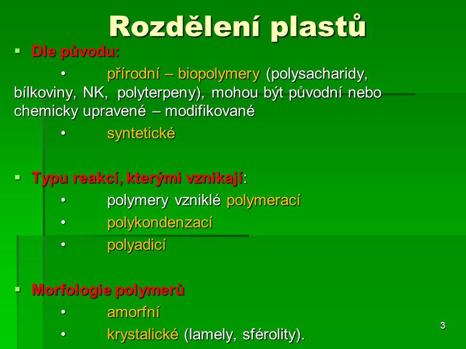 Rozdělení plastů Dle původu: