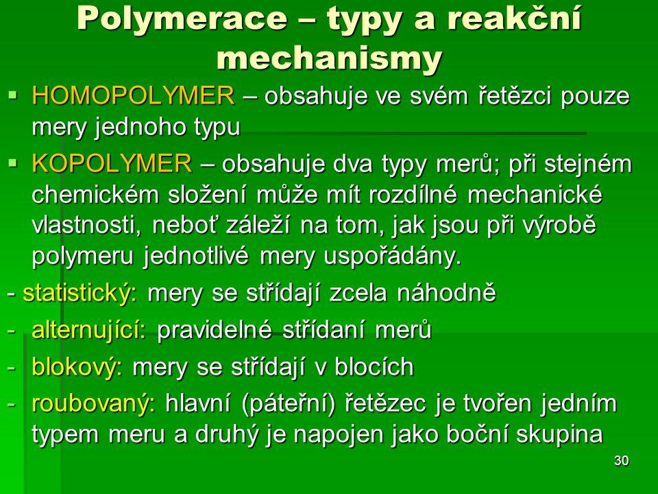 Polymerace – typy a reakční mechanismy
