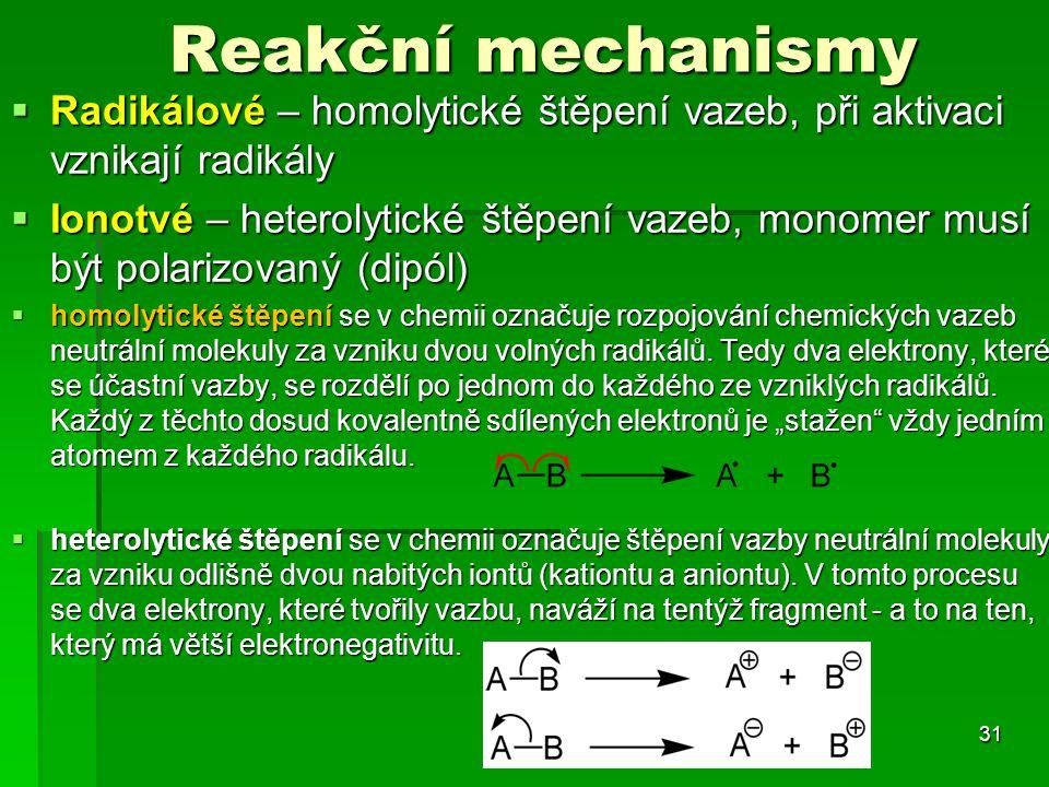 Reakční mechanismy Radikálové – homolytické štěpení vazeb, při aktivaci vznikají radikály.