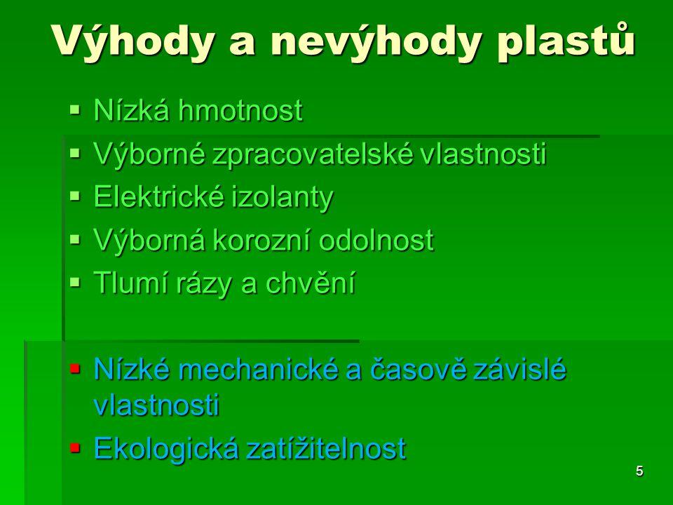 Výhody a nevýhody plastů