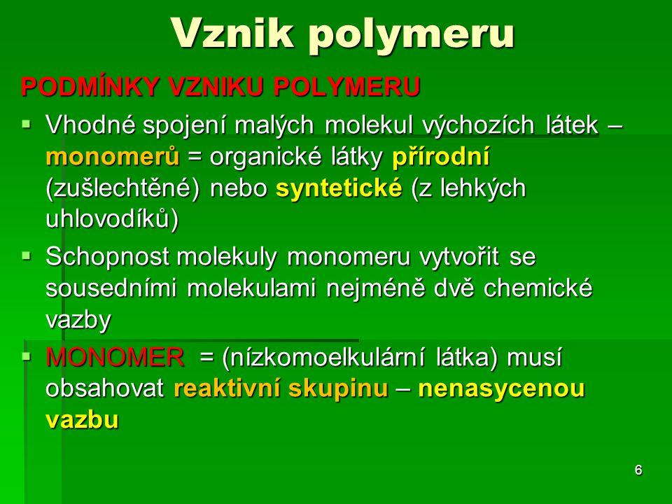 Vznik polymeru PODMÍNKY VZNIKU POLYMERU