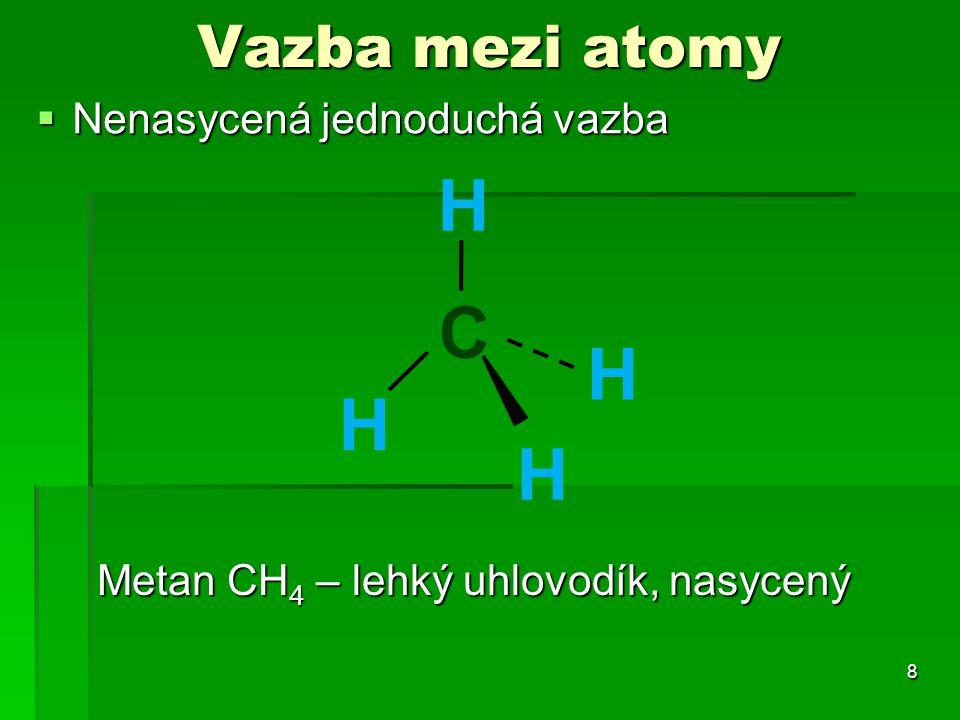 H C H H H Vazba mezi atomy Nenasycená jednoduchá vazba