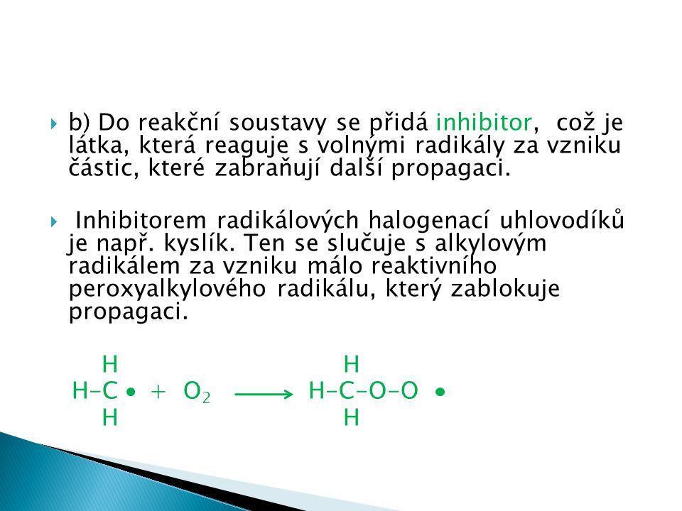 b) Do reakční soustavy se přidá inhibitor, což je látka, která reaguje s volnými radikály za vzniku částic, které zabraňují další propagaci.
