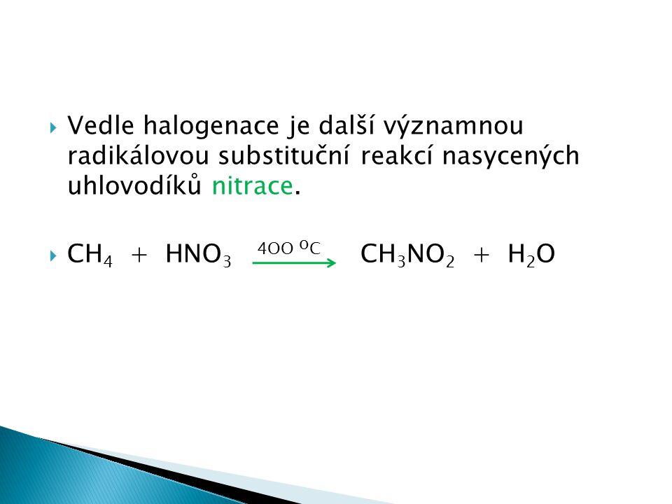 Vedle halogenace je další významnou radikálovou substituční reakcí nasycených uhlovodíků nitrace.