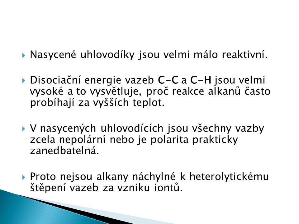Nasycené uhlovodíky jsou velmi málo reaktivní.