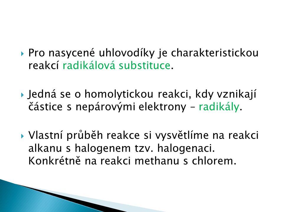 Pro nasycené uhlovodíky je charakteristickou reakcí radikálová substituce.
