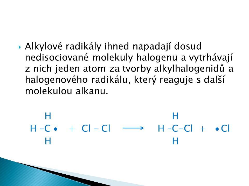 Alkylové radikály ihned napadají dosud nedisociované molekuly halogenu a vytrhávají z nich jeden atom za tvorby alkylhalogenidů a halogenového radikálu, který reaguje s další molekulou alkanu.