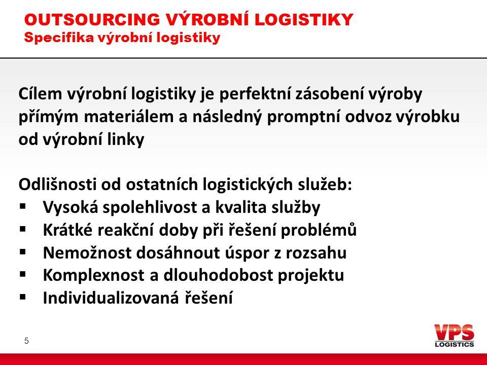 OUTSOURCING VÝROBNÍ LOGISTIKY Specifika výrobní logistiky
