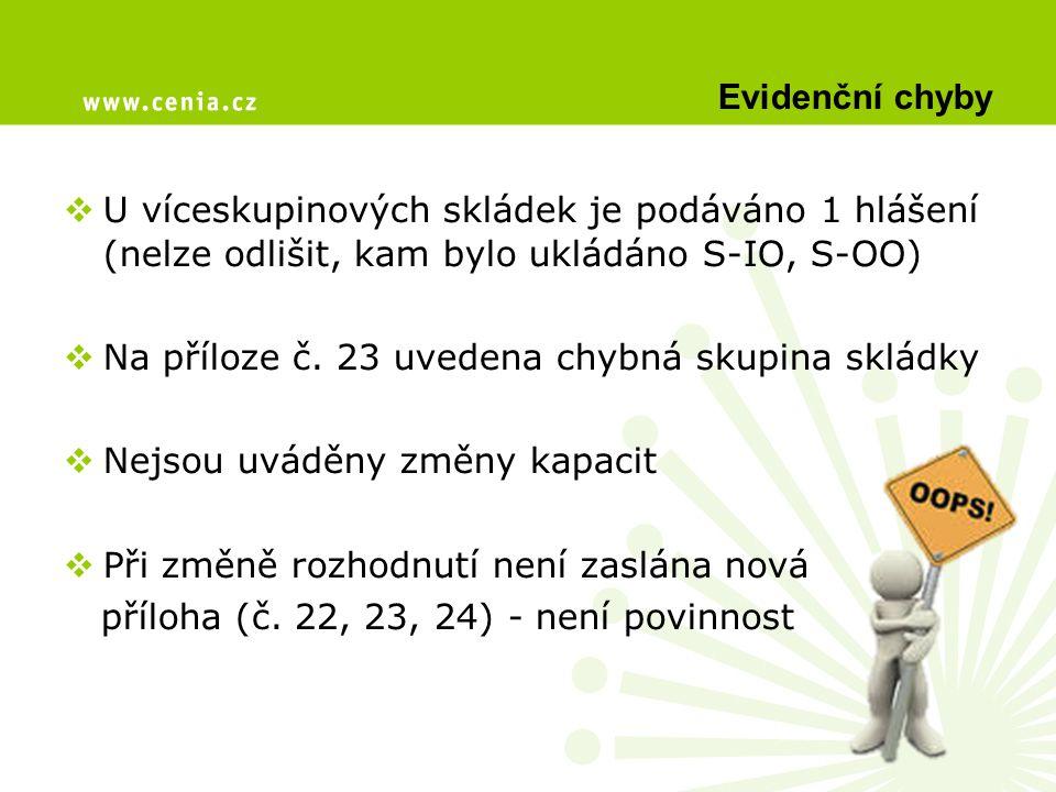 Evidenční chyby U víceskupinových skládek je podáváno 1 hlášení (nelze odlišit, kam bylo ukládáno S-IO, S-OO)