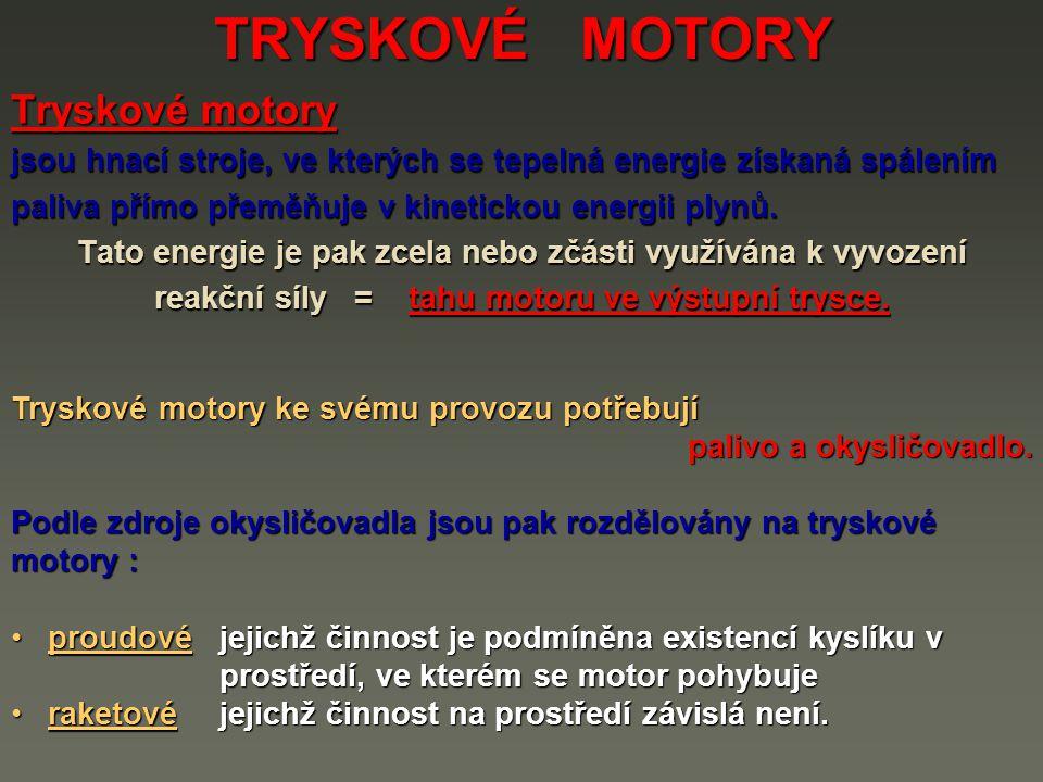 TRYSKOVÉ MOTORY Tryskové motory