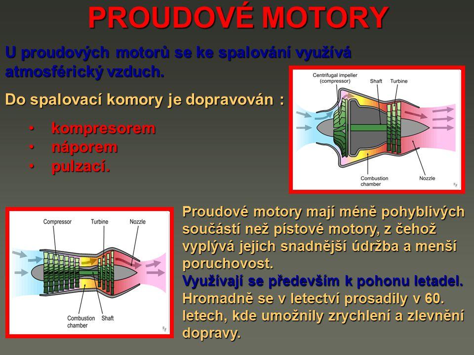 PROUDOVÉ MOTORY U proudových motorů se ke spalování využívá atmosférický vzduch. Do spalovací komory je dopravován :